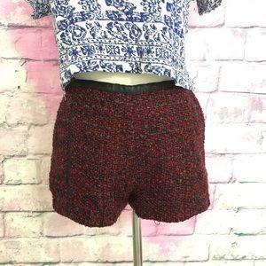 H&M red/black tweed pleather trim shorts